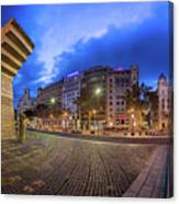 Panorama Of Placa De Catalunya In The Morning, Barcelona, Spain Canvas Print