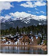 Panorama Of South Catamount Reservoir With Pike's Peak Covered I Canvas Print