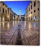 Panorama Of Stradun Street And Luza Square In Dubrovnik, Dalmati Canvas Print