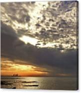 Panorama Of The Sunset In Caesarea Canvas Print