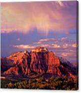 Panorama West Temple At Sunset Zion Natonal Park Canvas Print