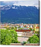 Panoramic Aerial View Of Innsbruck And Hafelekarspitze Mountain Canvas Print