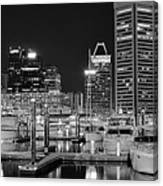 Panoramic Baltimore In Black And White Canvas Print