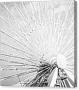 Panoramic Chicago Ferris Wheel In Black And White Canvas Print