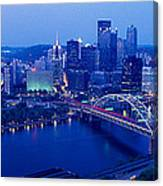 Panoramic Evening View Of Pittsburgh Canvas Print