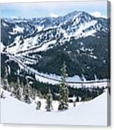 Panoramic Mountain Top View Of Popular Washington Resort Canvas Print