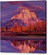 Panoramic Sunrise Oxbow Bend Grand Tetons National Park Canvas Print