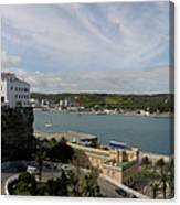 panoramic town 1  - Panorama of Mahon Menorca with old town and harbour Canvas Print