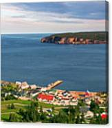 Panoramic View In Perce Quebec Canvas Print