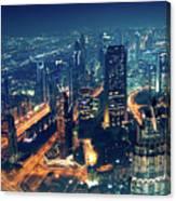 Panoramic View Of Dubai City Canvas Print