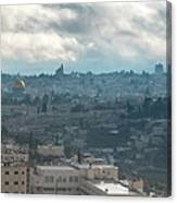 Panoramic View Of Old Jerusalem City Canvas Print
