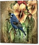 Pansies And Bluebird Canvas Print