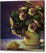 Pansies And Celadon Canvas Print