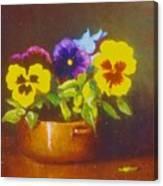 Pansies In Copper Bowl Canvas Print