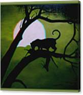 Panther Silhouette - Use Red-cyan 3d Glasses Canvas Print