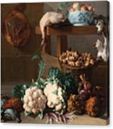 Pantry With Artichokes Cauliflowers And A Basket Of Mushrooms Canvas Print