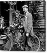 Papa With Charles On Bicycle, Fred On Porch Canvas Print