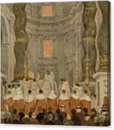 Papal Ceremony In St Peter In Rome Under The Canopy Of Bernini Canvas Print