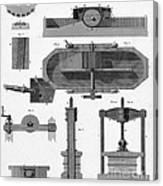 Paper Mill Diagram, 1814 Canvas Print