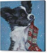 Papillon Puppy With Xmas Stocking Canvas Print