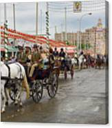 Parade Of Horse Drawn Carriages On Antonio Bienvenida Street Wit Canvas Print