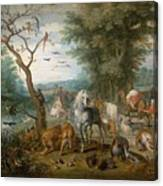 Paradise Landscape With Animals Canvas Print