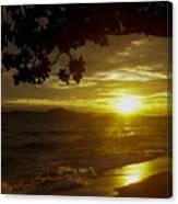 Paradise Lensflare Beach Sunset #9412 Canvas Print