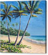 Tropical Paradise Landscape - Hawaii Beach And Palms Painting Canvas Print