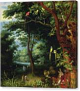 Paradise Scene With Adam And Eve Canvas Print
