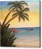 Paradise With Dolphins Canvas Print