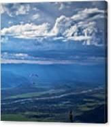 Paragliding Above Jackson Hole Canvas Print