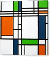 Parallel Lines Composition With Blue Green And Orange In Opposition Canvas Print