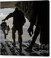 Paratroopers Jump Out Of A Kc-130j Canvas Print