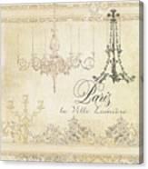 Parchment Paris - City Of Light Chandelier Candelabra Chalk Canvas Print