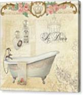 Parchment Paris - Le Bain Or The Bath Chandelier And Tub With Roses Canvas Print