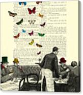 Inside Of A French Bistro At Paris And Rainbow Butterflies Canvas Print