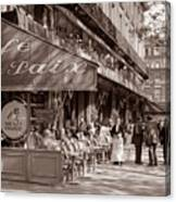 Paris Cafe 1935 Sepia Canvas Print