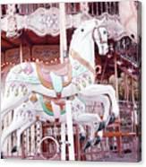 Paris Carousel Horses - Shabby Chic Paris Carousel Horse Merry Go Round Canvas Print