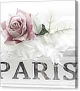 Paris Dreamy Pastel Pink Roses On Paris Book - Romantic Paris Roses And Books Shabby Chic Art Canvas Print