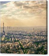 Paris Eiffel Skyline And Cityscape Aerial View At Sunset From Montparnasse Tower Observation Deck  Canvas Print