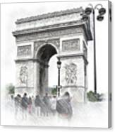Paris, France  Triumphal Arch  Illustration Canvas Print