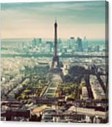 Paris, France Vintage Skyline, Panorama. Eiffel Tower, Champ De Mars Canvas Print