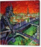 Paris Gargoyle Contemplation Textural Impressionist Stylized Cityscape Canvas Print