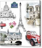 Paris Landmarks. Illustration In Draw, Sketch Style.  Canvas Print