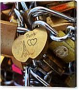 Paris Love Locks Paris France Color Canvas Print