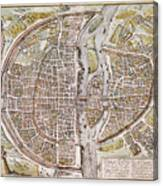 Paris Map, 1581 Canvas Print
