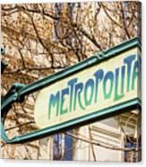 Paris Metro Sign Color Canvas Print