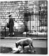 Paris Old Woman And Dog Canvas Print