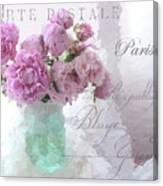 Paris Peonies - Parisian Pink Peonies Pink Aqua French Decor - Paris Floral Wall Art Home Decor  Canvas Print