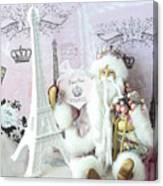Paris Shabby Chic Holiday Santa - Paris Pink Santa Claus Joyeux Noel - Pink Santa Eiffel Tower Print Canvas Print